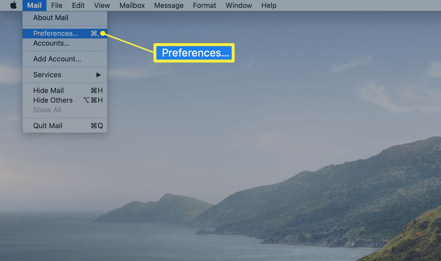 Menu bar of the Mail application on a Mac showing Preferences option