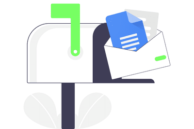 Illustration showing a Google doc being mailed