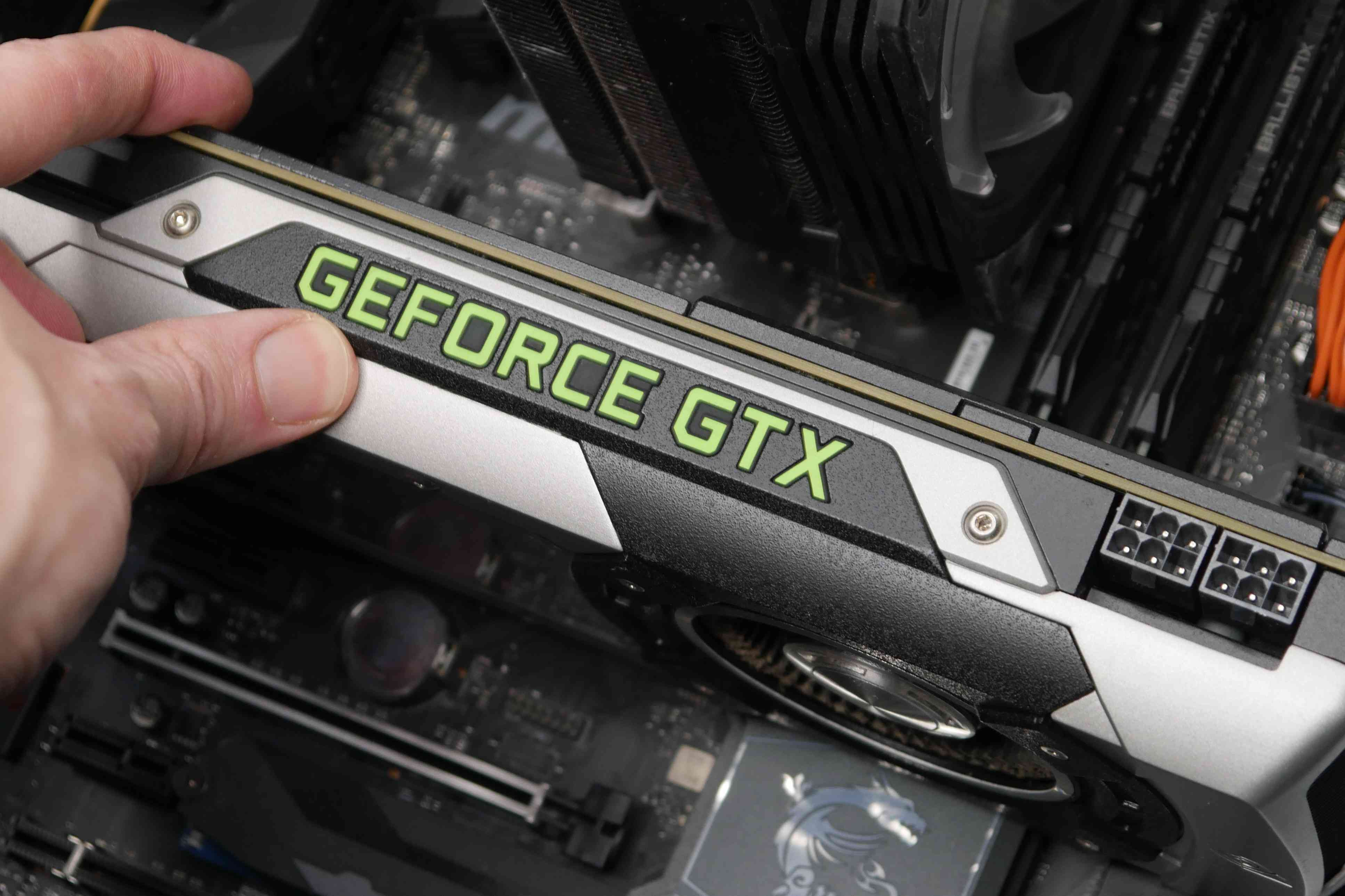 A photo of a graphics card installed in a computer