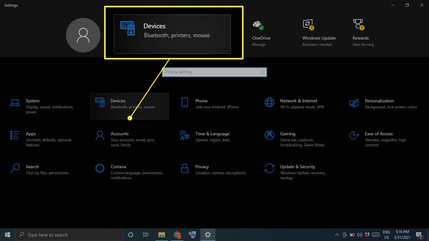 Devices highlighted in Windows Settings