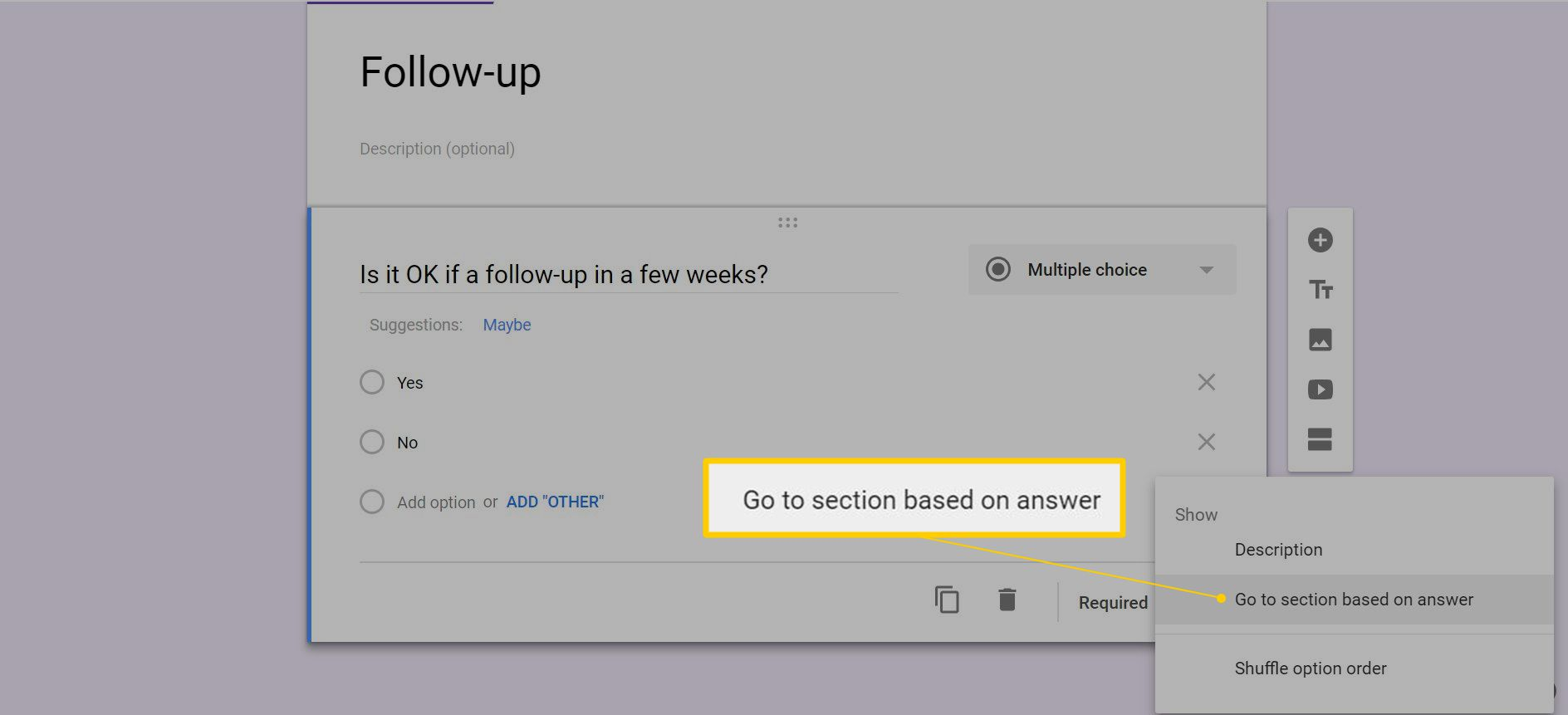 Go to section based on answer option in Google Forms