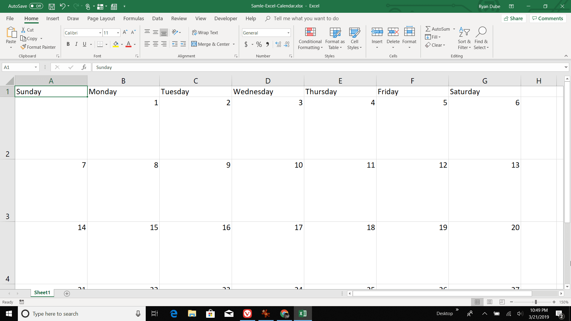 Screenshot of numbering the days of the month in Excel