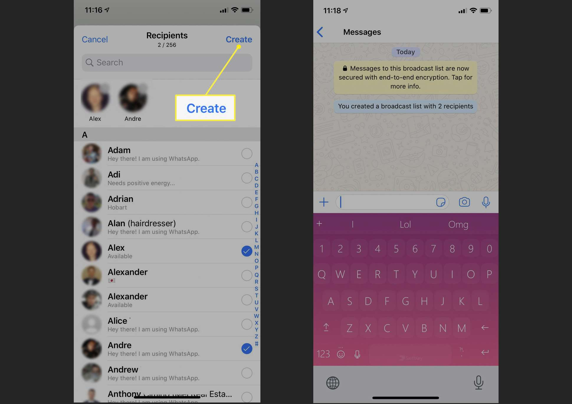 Process for creating a Broadcast List in the WhatsApp app on iPhone.