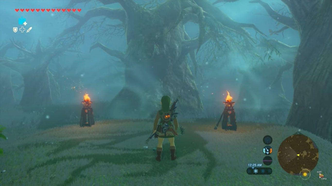 Link stands between two torches in Zelda: BOTW