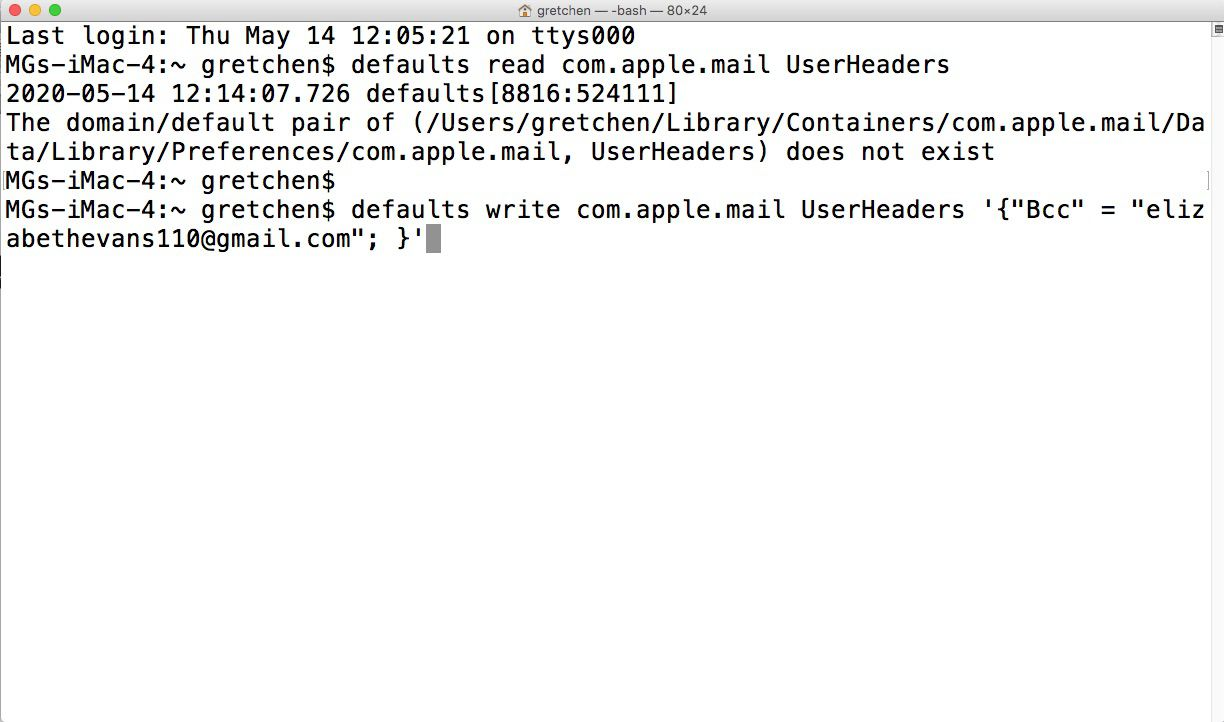 Defaults write command for automatia BCC in Apple Mail
