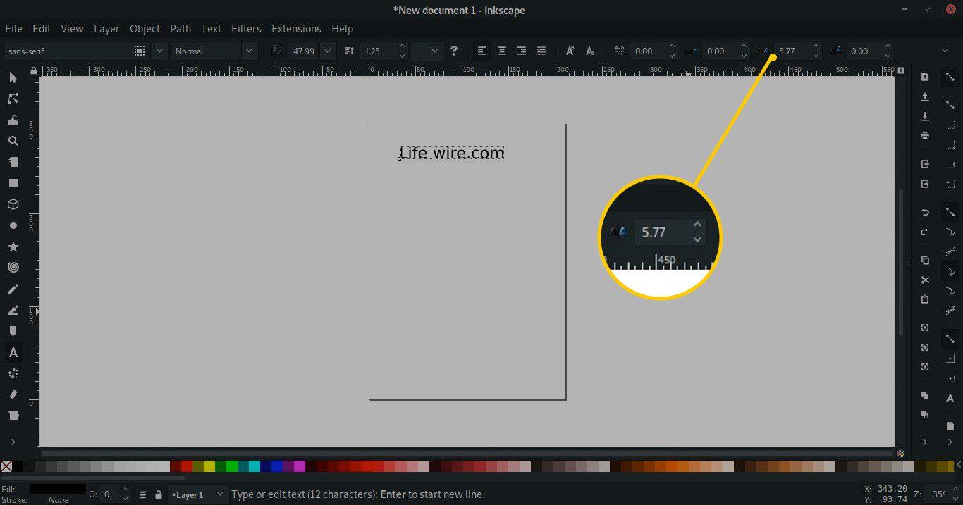 Horizontal Kerning tool in Inkscape