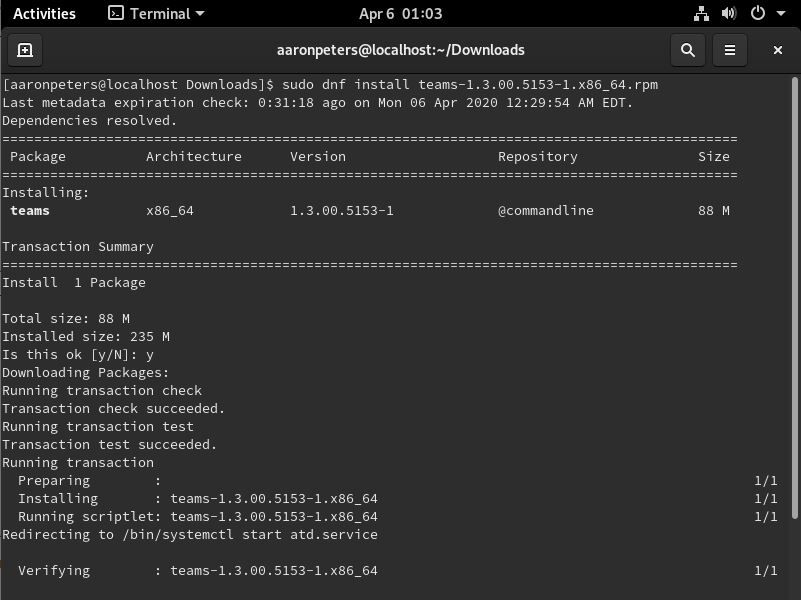 Installing Teams from the Fedora Command Line