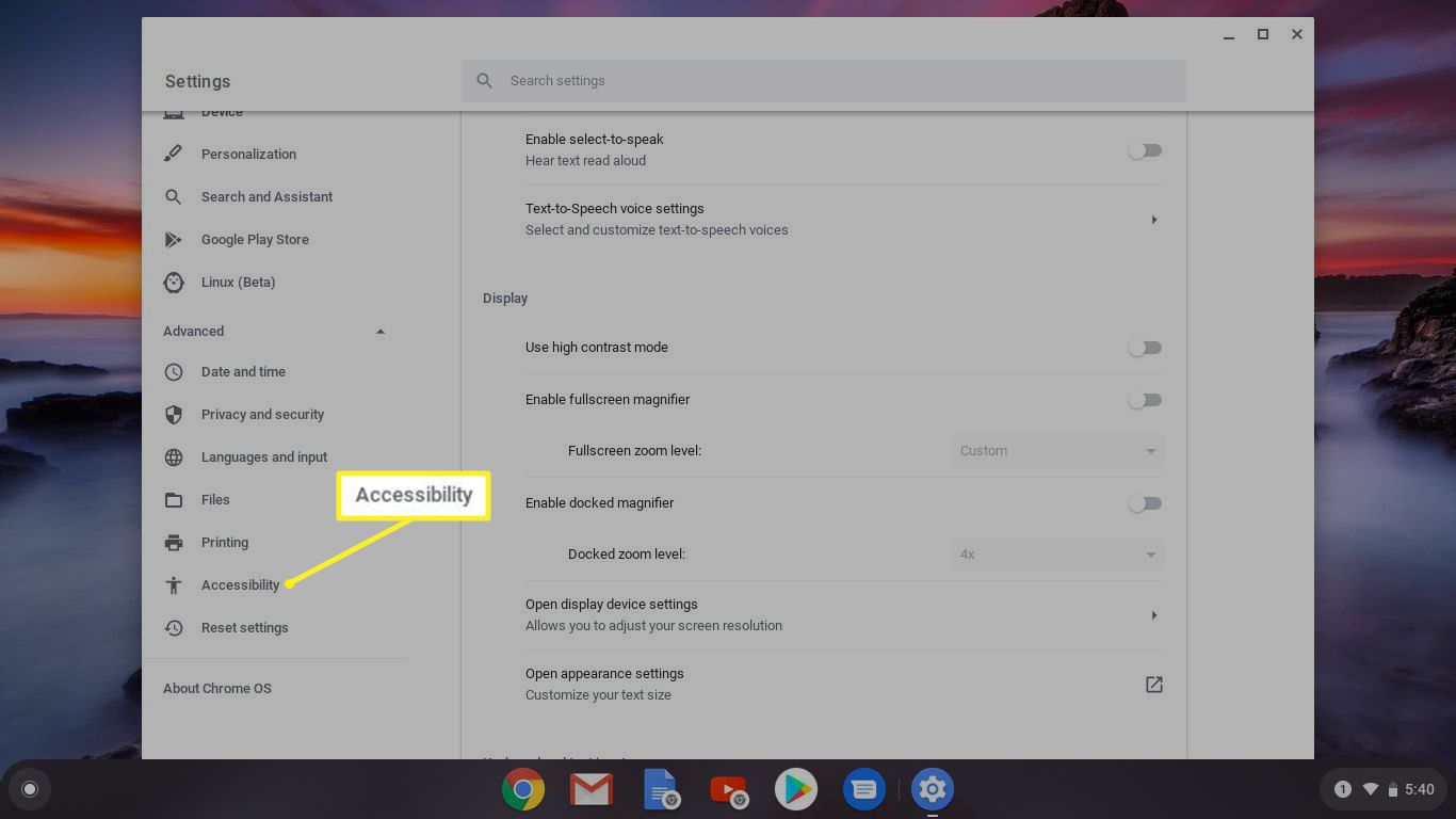 Accessibility highlighted in Chromebook Settings
