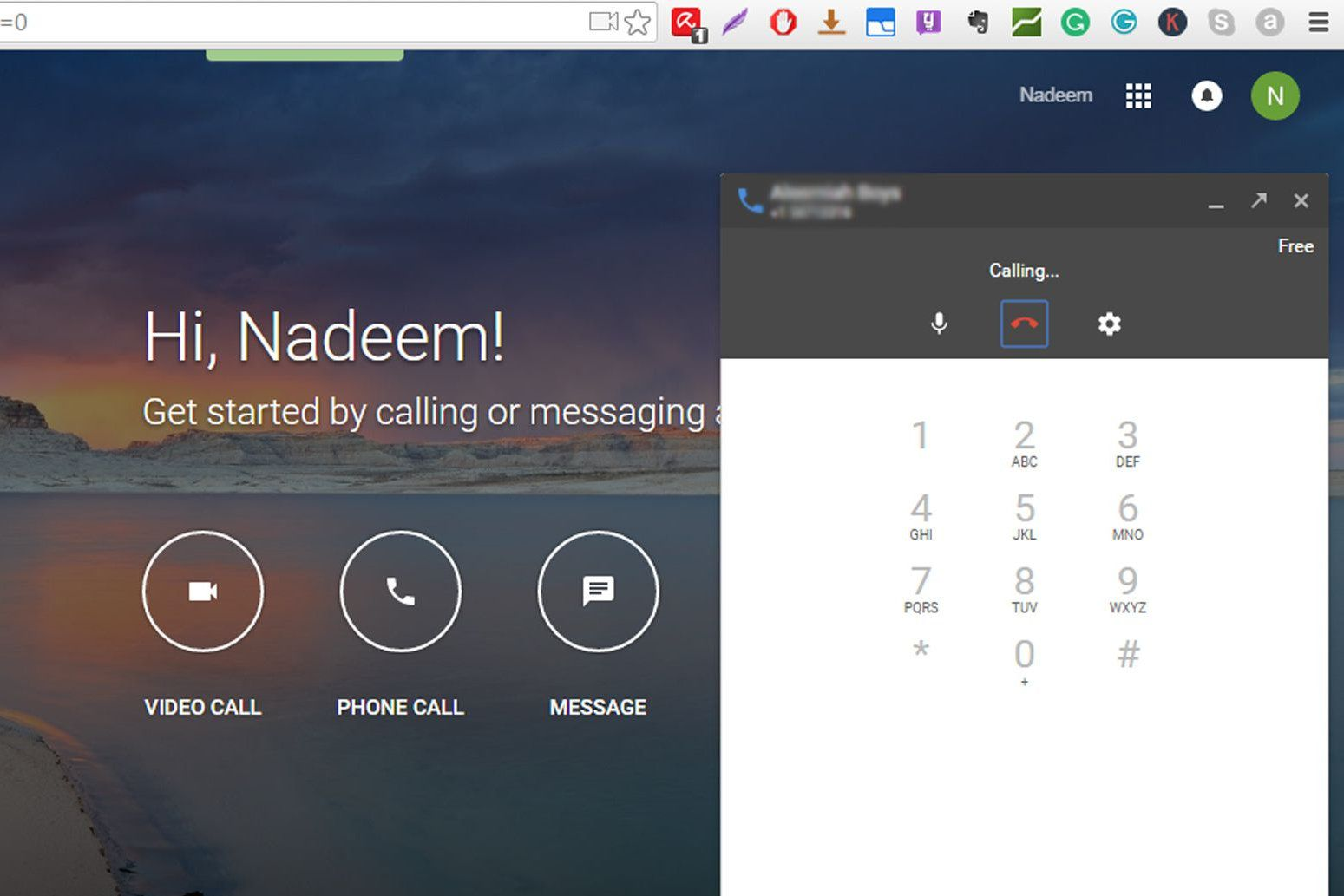 Hangouts calling through Gmail and Google.