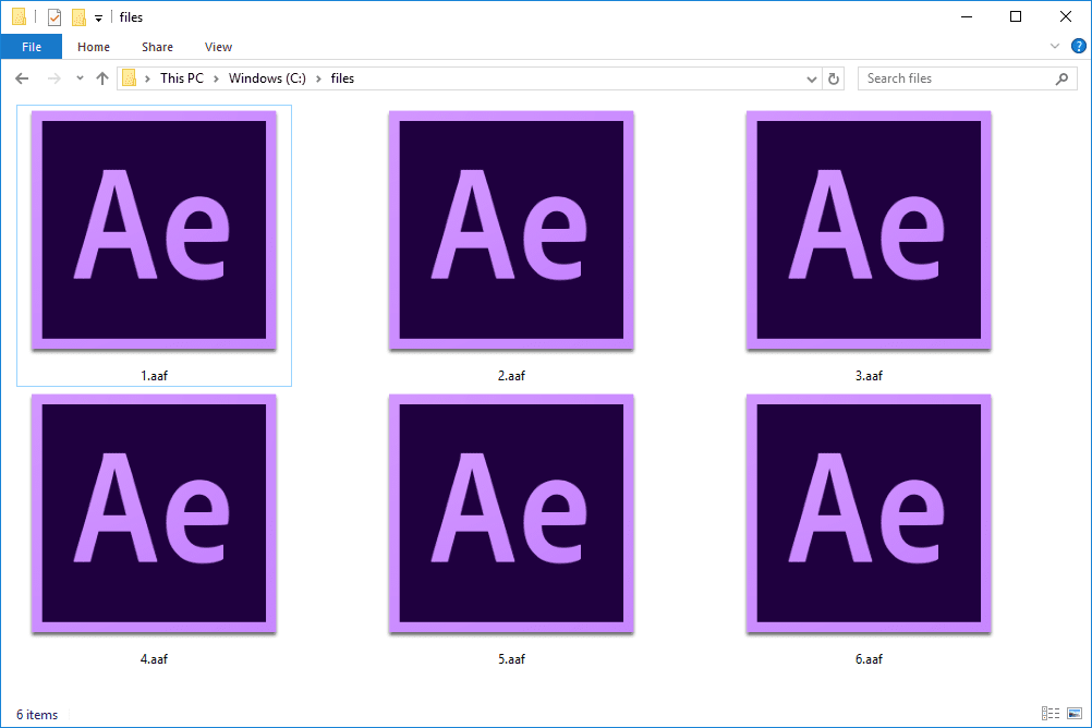 several AAF files in Windows 10