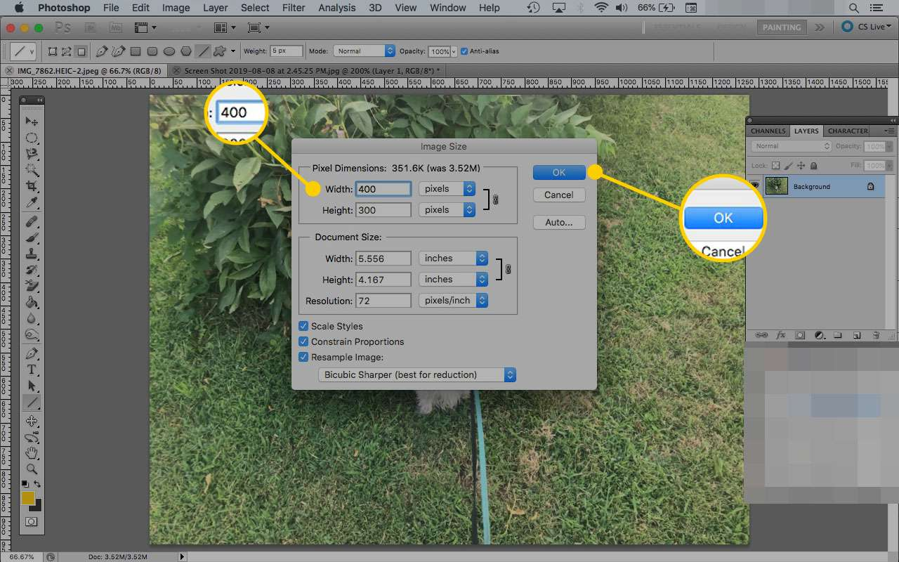 The Image Size dialog box in Photoshop with the width window and OK button highlighted