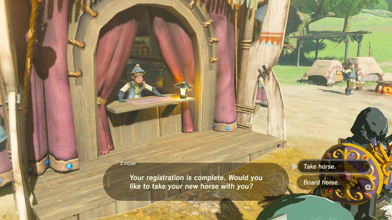 Selecting Take horse in Zelda: Breath of the Wild.