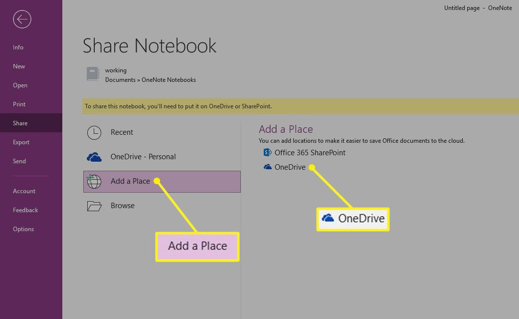 Share Notebook with Add a Place and One Drive highlighted