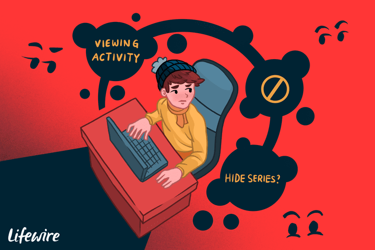 Illustration of a person using a laptop, with Viewing Activity, and Hide Series? messages in the air above them