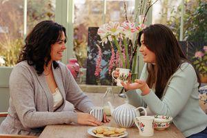 Two young women having coffee