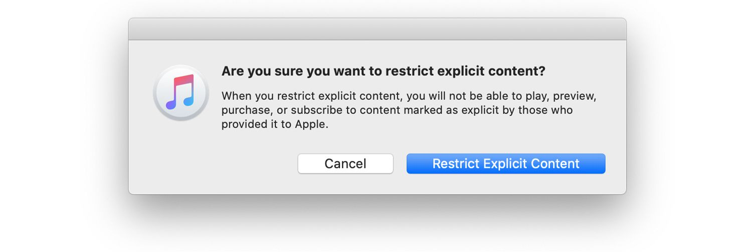 Confirmation box for restricting explicit content