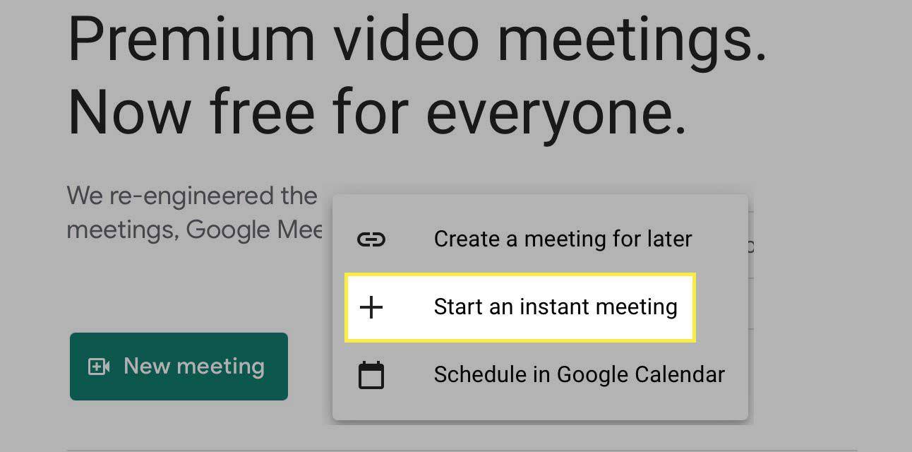 Start an instant meeting button highlighted in Google Meet.