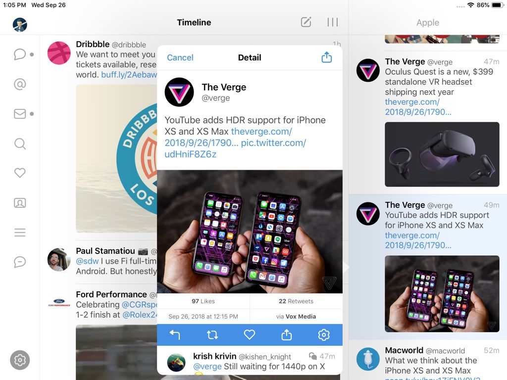 A Twitter feed in Tweetbot