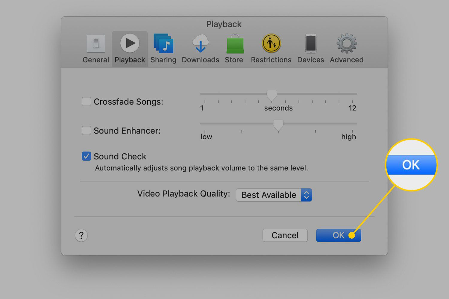 OK button in iTunes settings