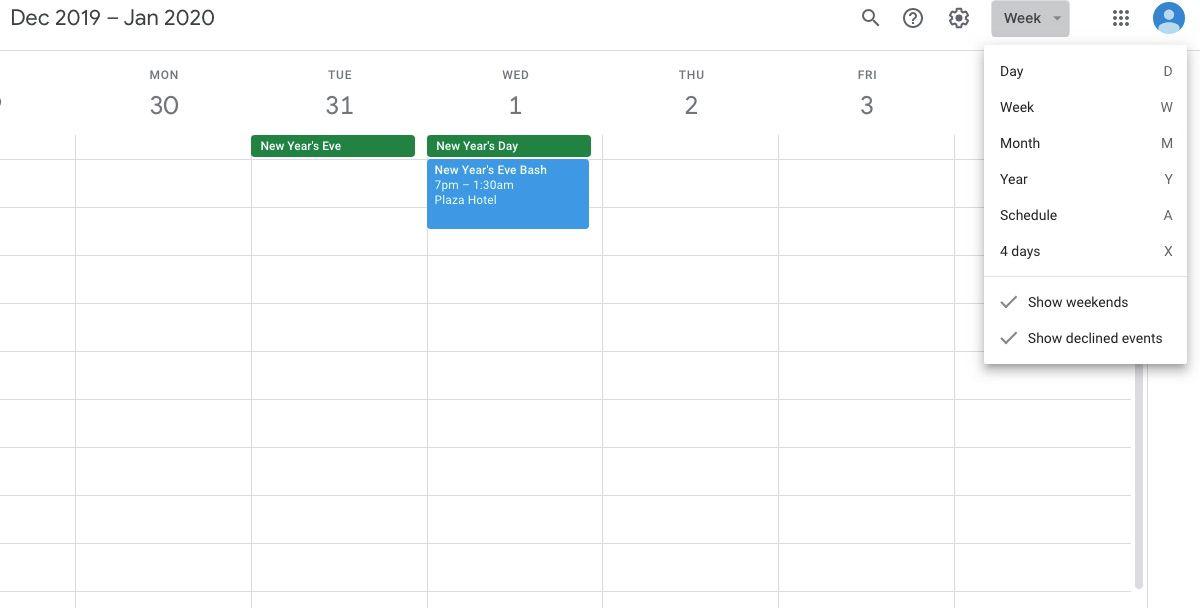 Screenshot of Google Calendar view type