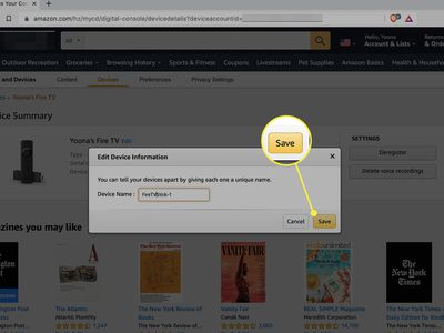 The Save button highlighted in the edit dialog box for registered devices to an Amazon account.