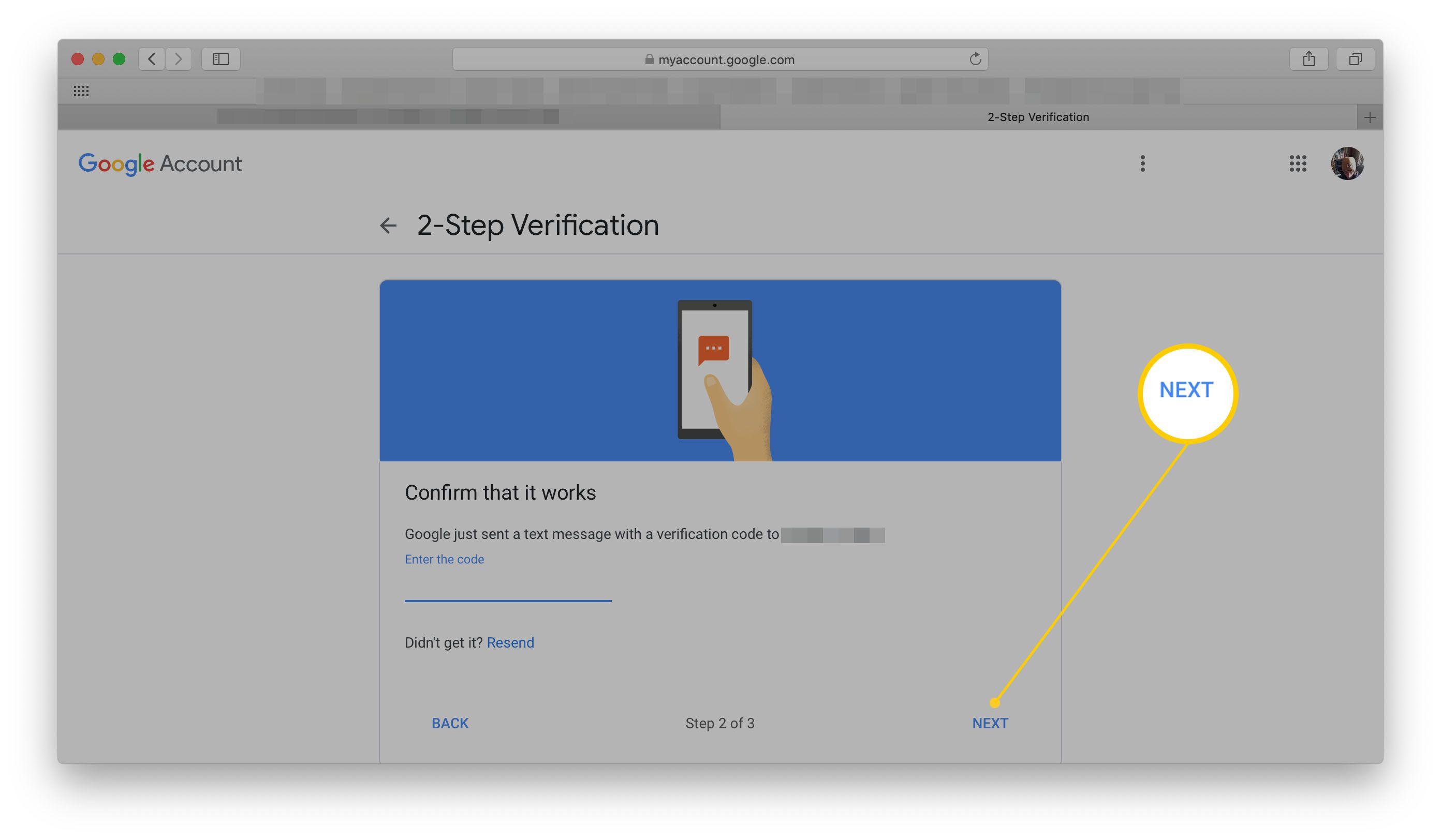 Google 2-Step Verification Phone setup page