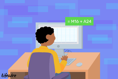 Illustration of a person adding cells together in Excel