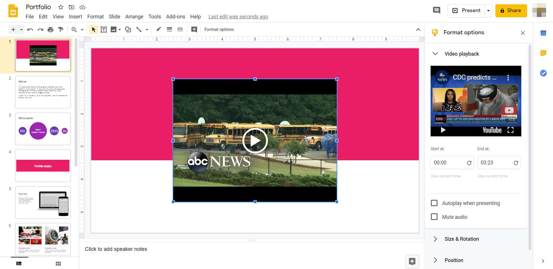 A video player appears over a Google Slides presentation.