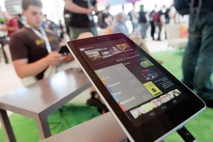 A Nexus 7 tablet is shown at the Google Developers Conference running the latest Android Jelly Bean OS.