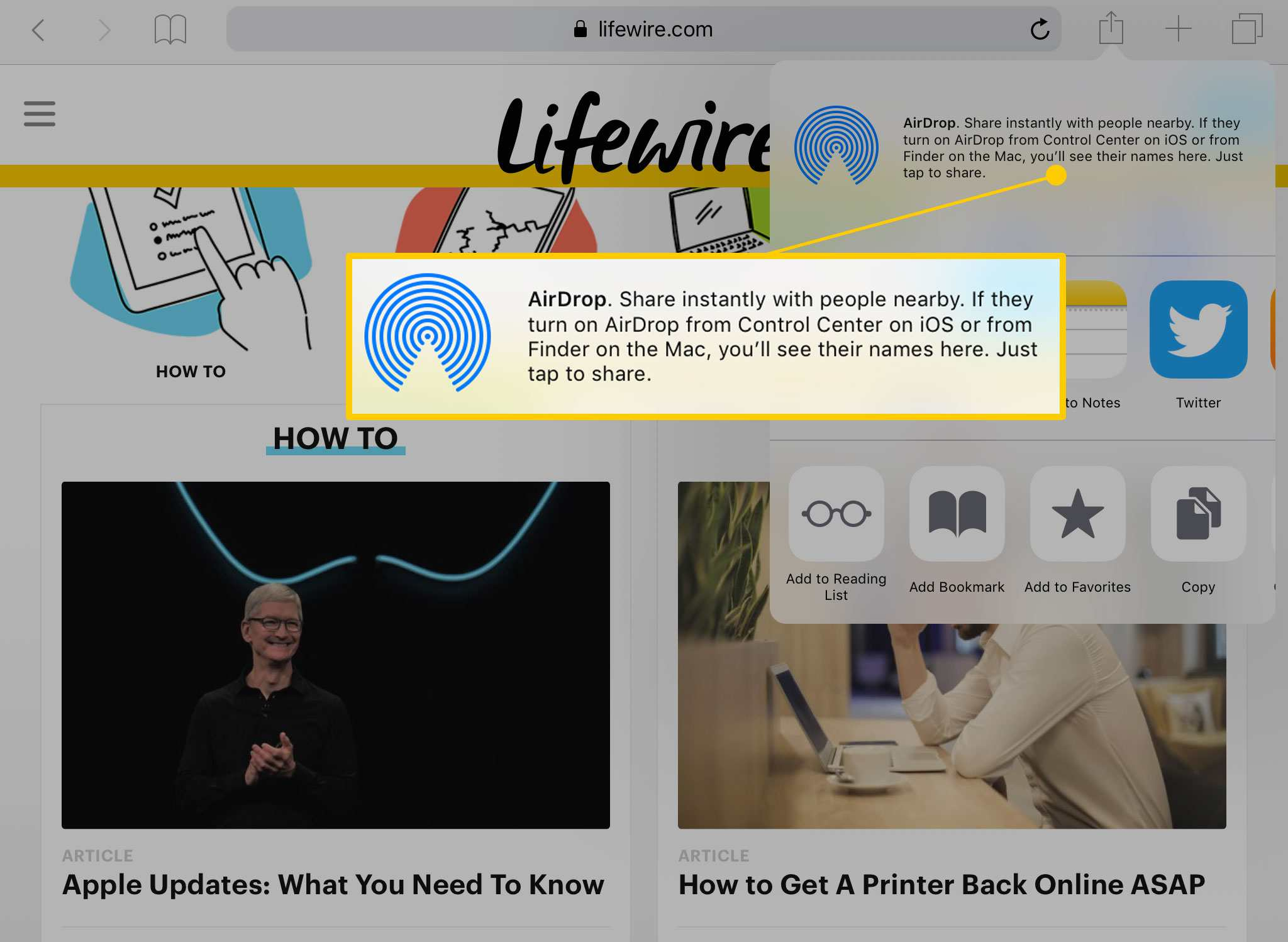 Share menu on iPad