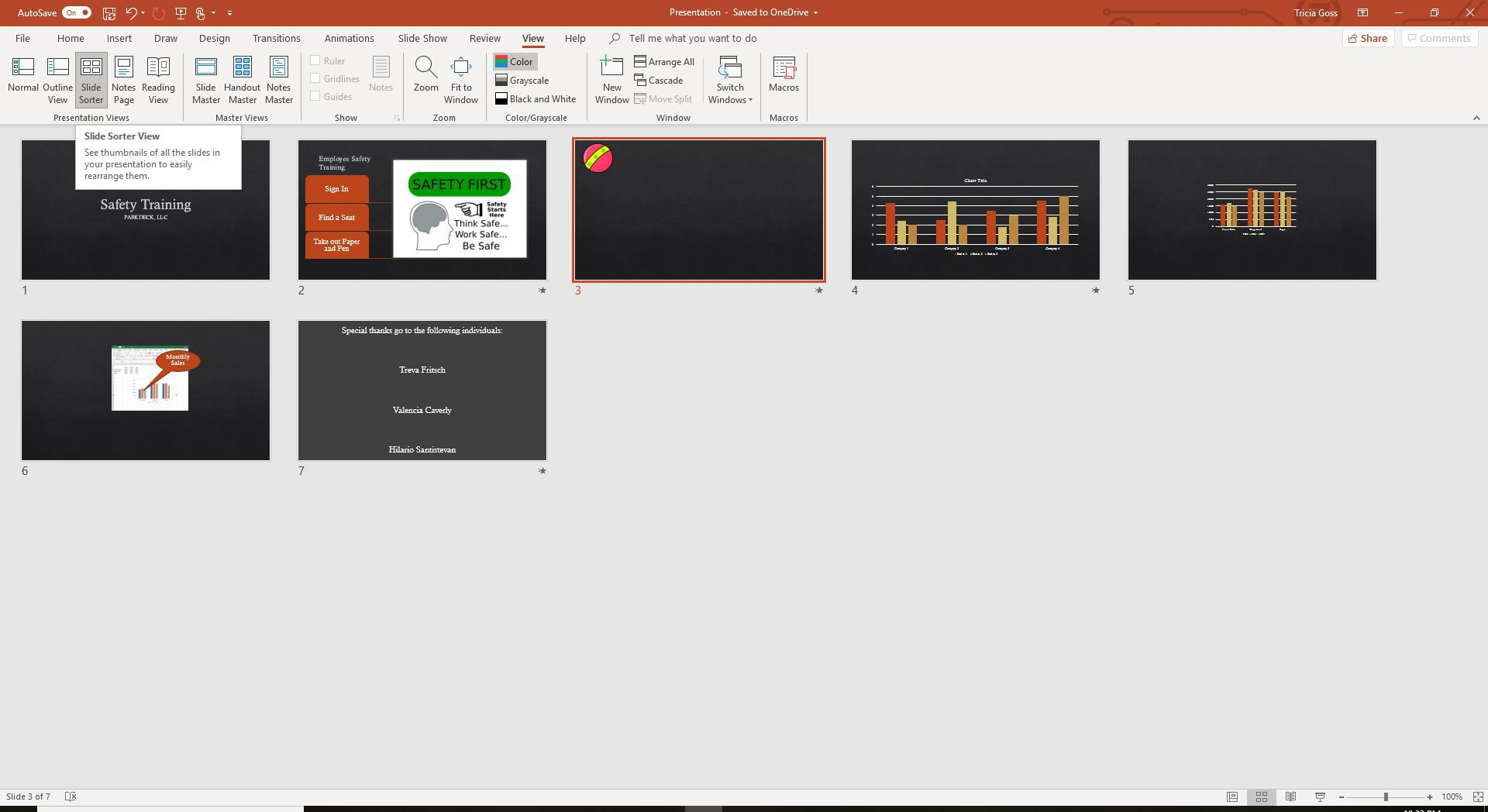 A screenshot of the Slide Sorter view in PowerPoint.