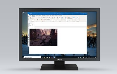 Image inserted to a new message in Outlook on Windows 10