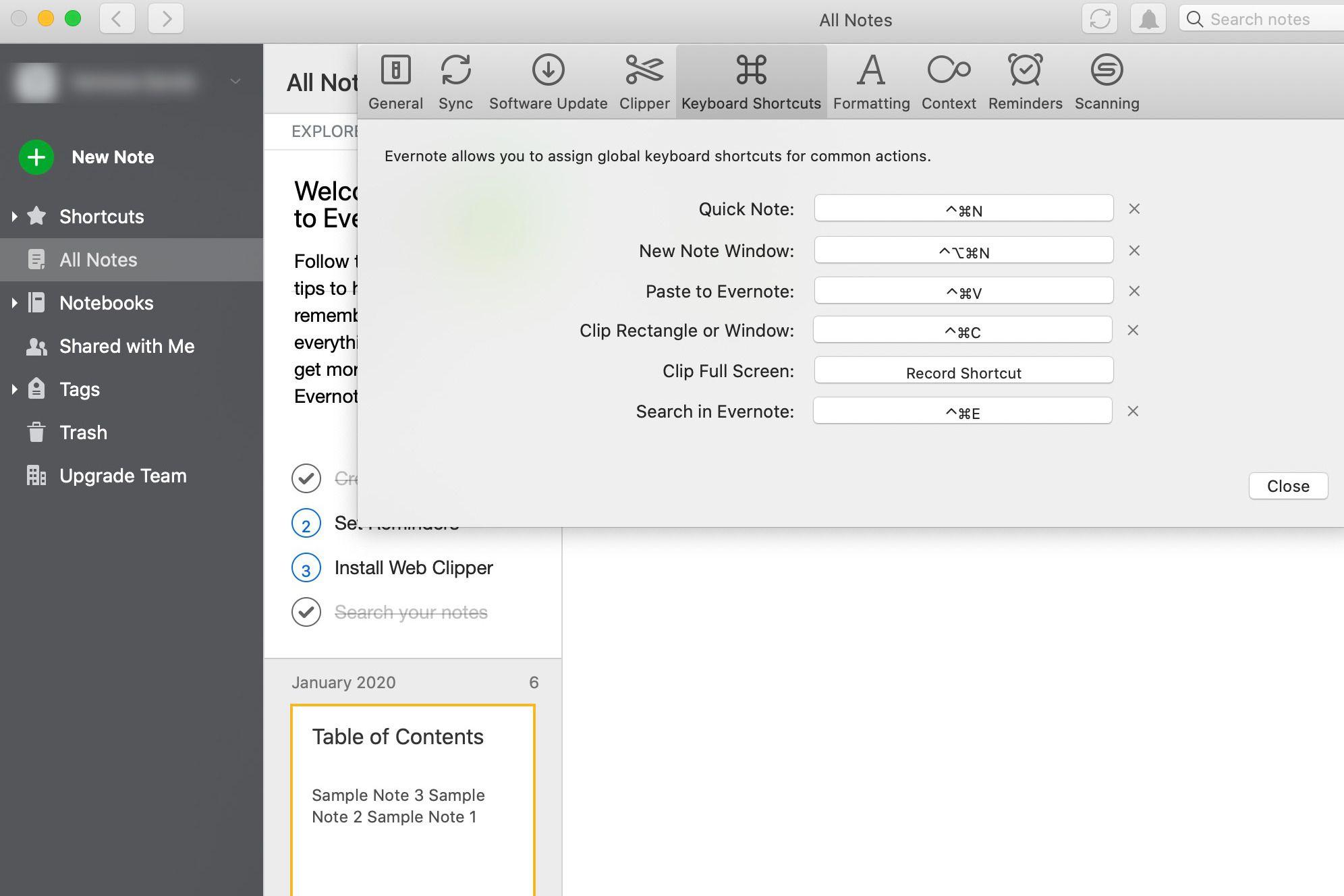 Evernote keyboard shortcuts