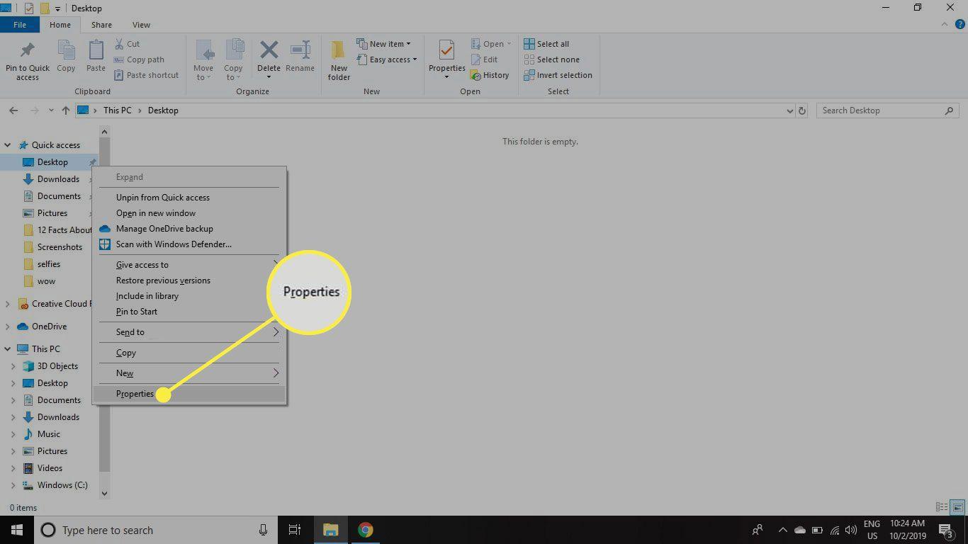 The Properties item in the Desktop option menu