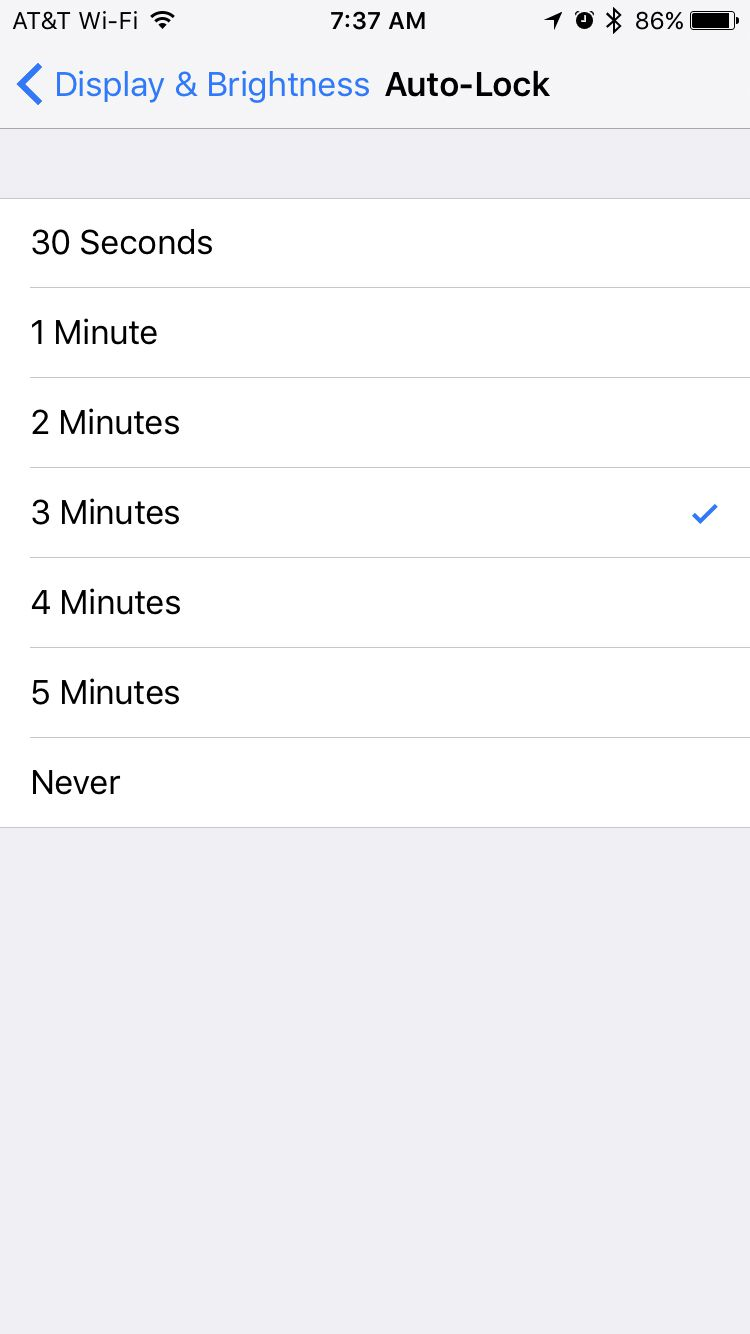 auto-lock screen on iPhone