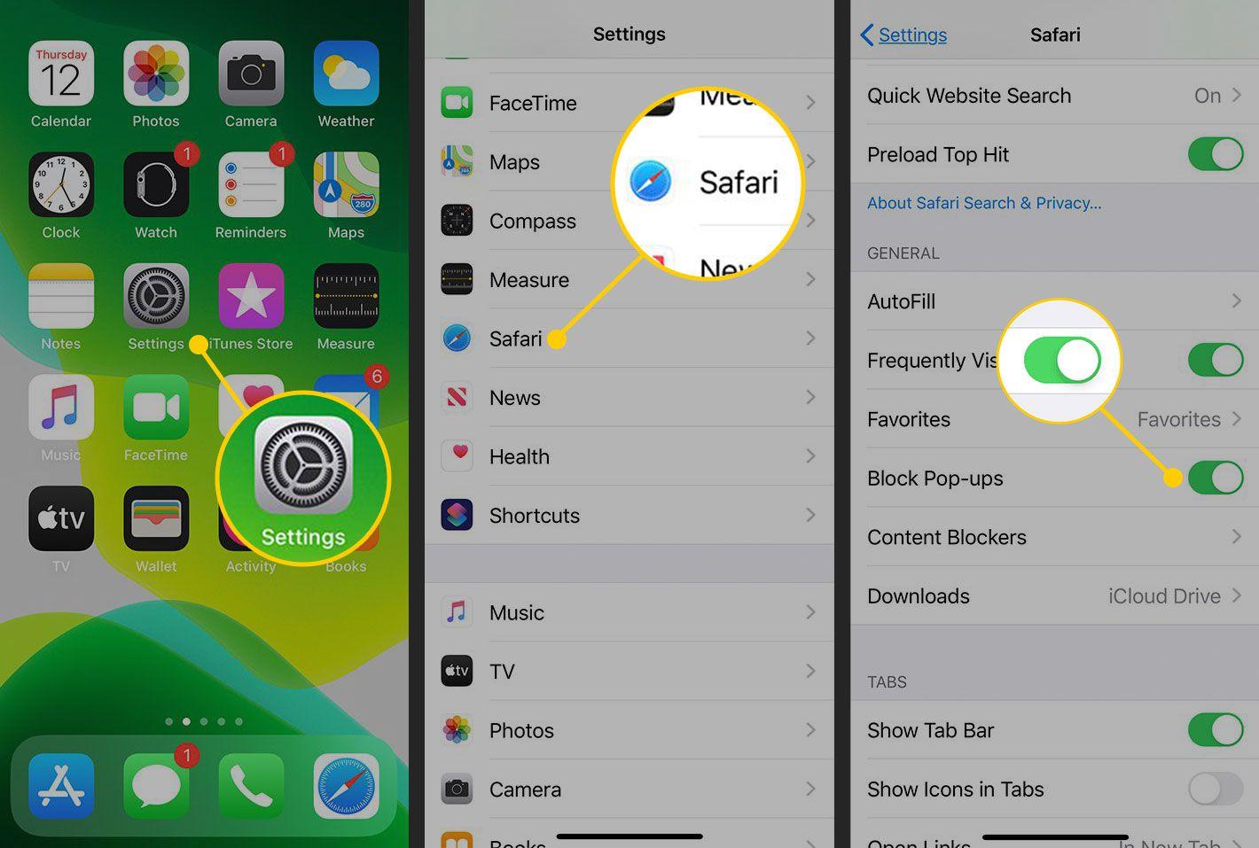 Pop-Up blocking settings in iOS