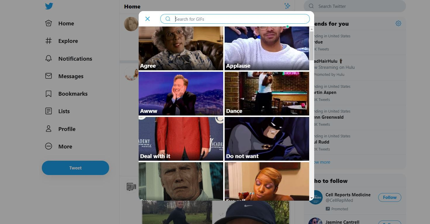 GIF library on Twitter