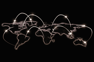 Illustration of a worldwide network