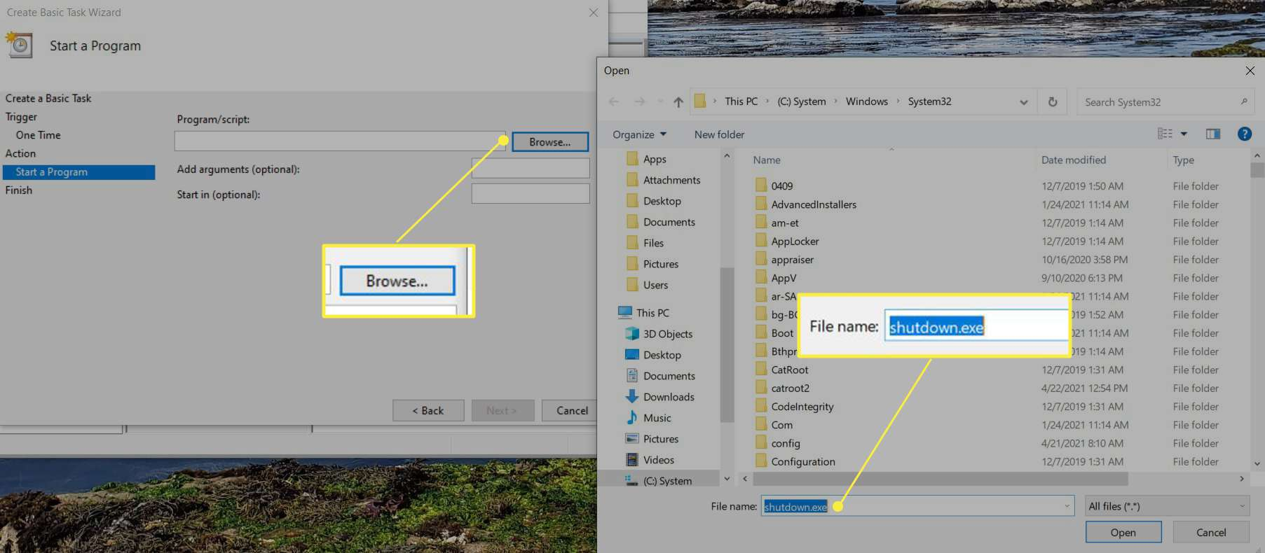 Two windows showing the Browse button to help select the Shutdown program.