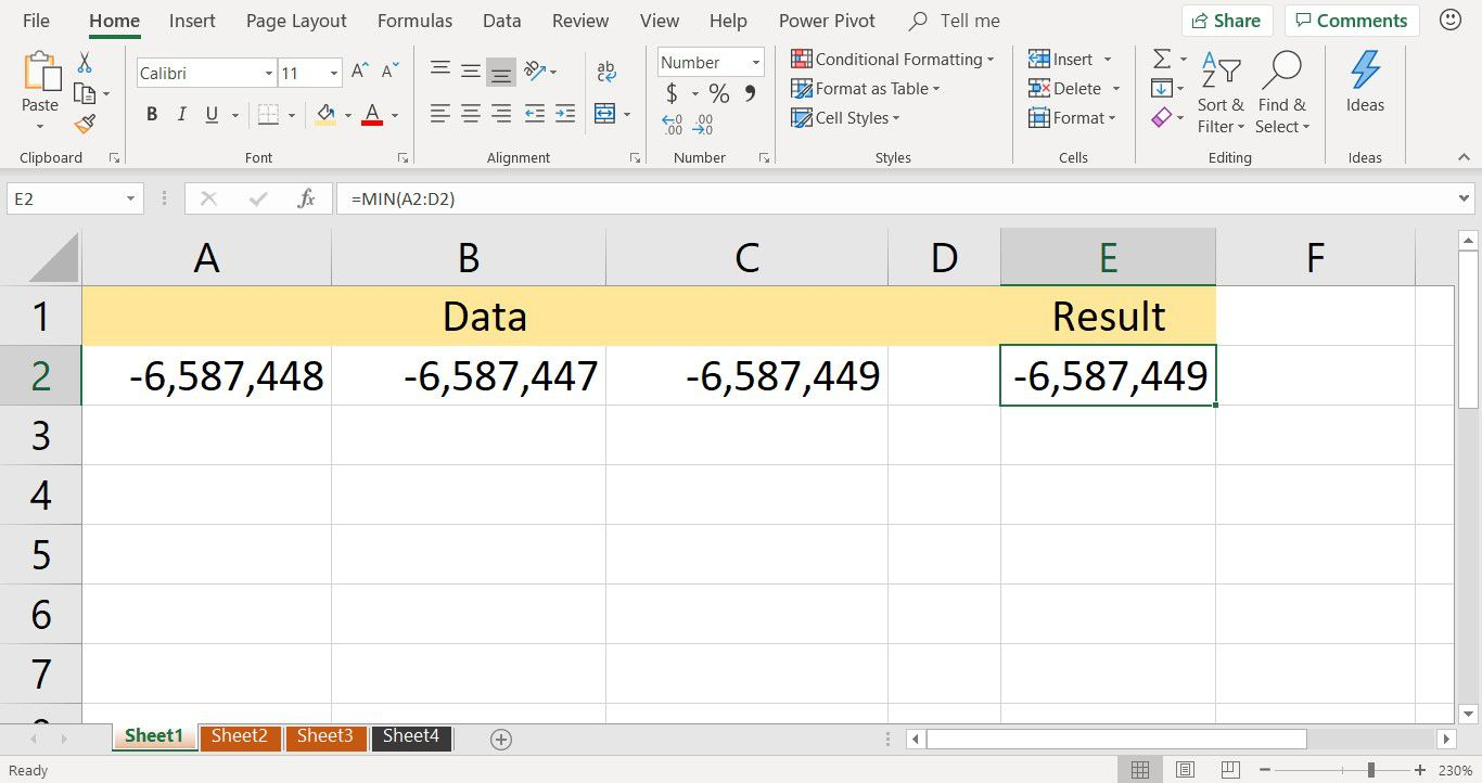 A screenshot showing the result of the MIN function in an Excel worksheet
