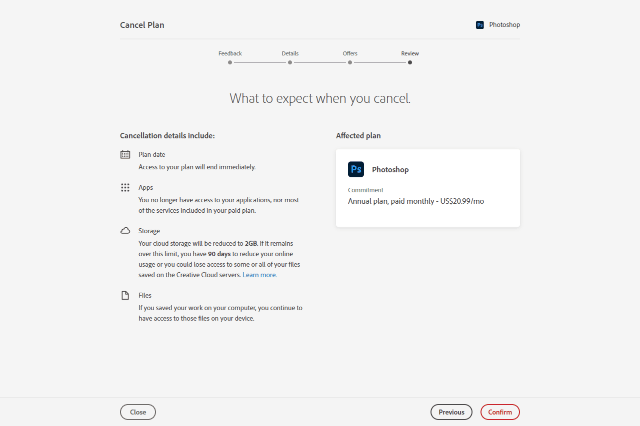Confirm button on Photoshop trial cancellation page