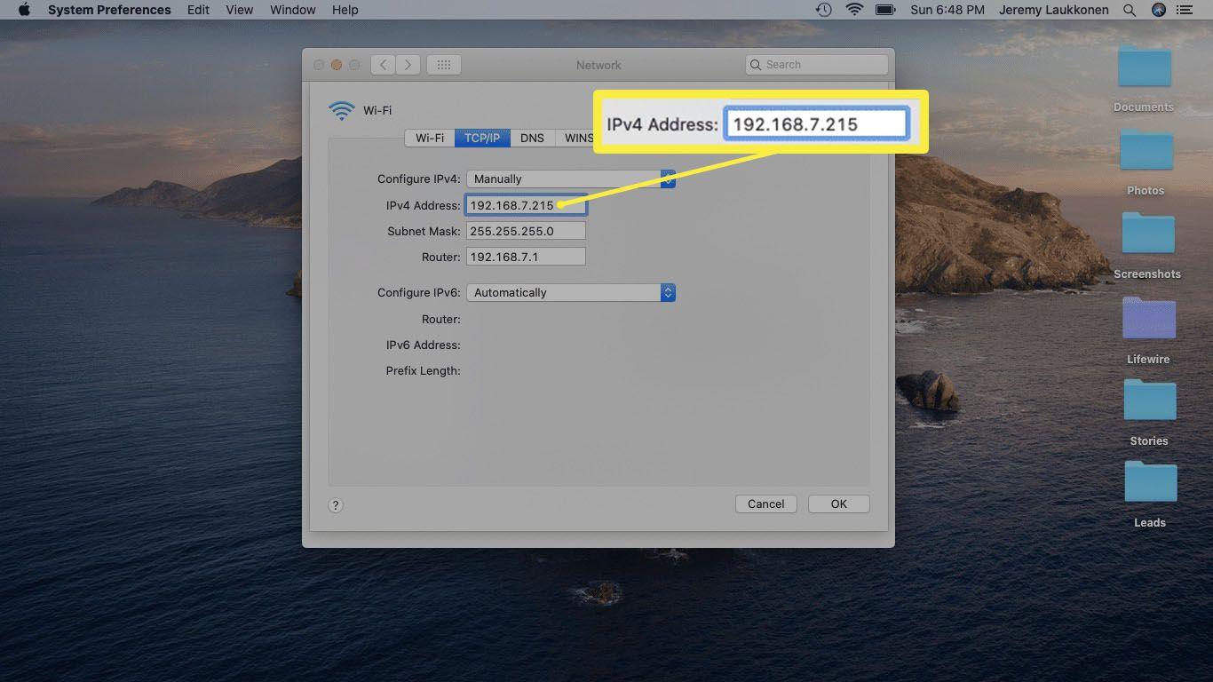 A screenshot of setting a custom IP on a Mac.