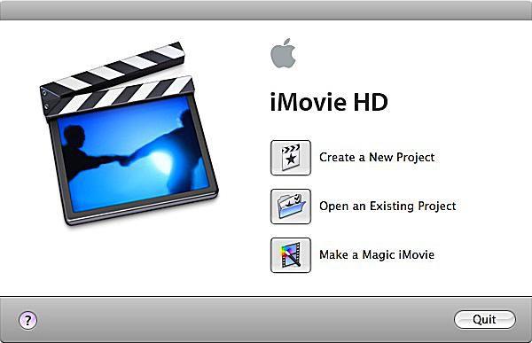 iMovie HD main page