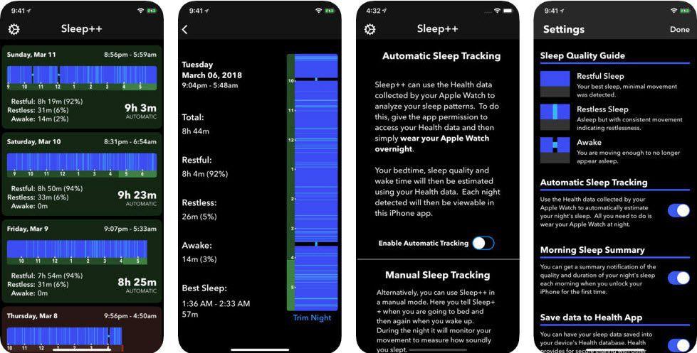 Sleep++ Apple Watch Sleep Tracking App Screen Shot
