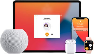 The Intercom feature shown on iPad, iPhone, and Apple Watch with a HomePod and Earbuds nearby.