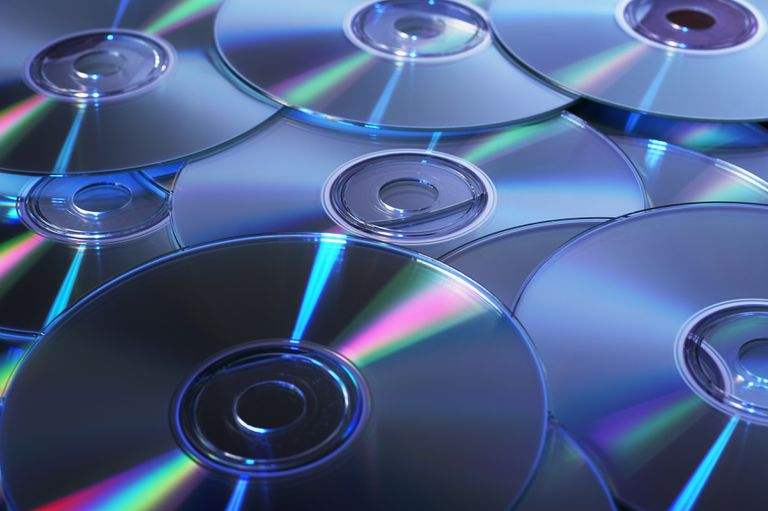 CDs in a pile
