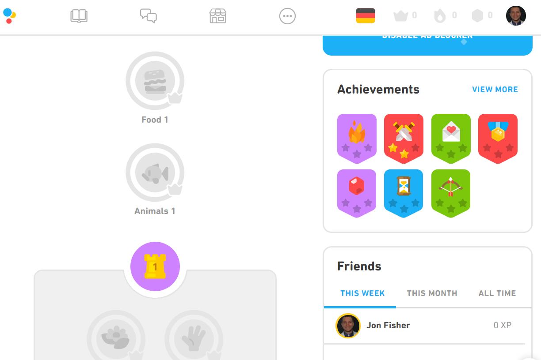 Duolingo German courses for English speakers