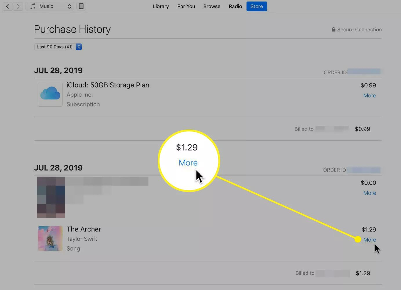 A song in iTunes Purchase History with the More button highlighted