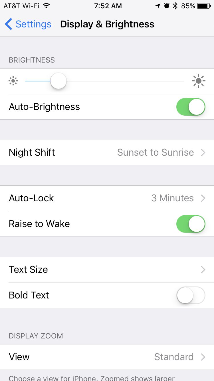 display and brightness screen on iPhone
