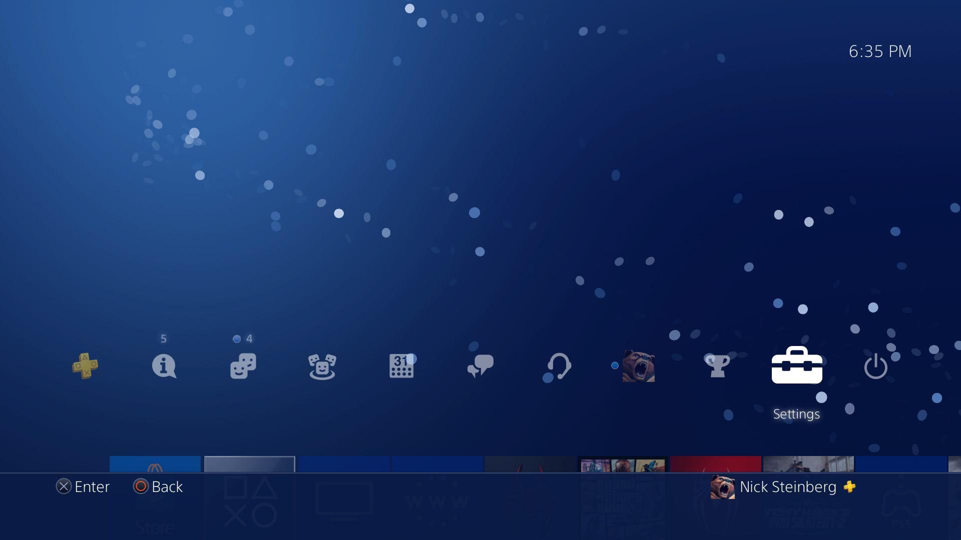Highlighting Settings on PS4 dashboard.